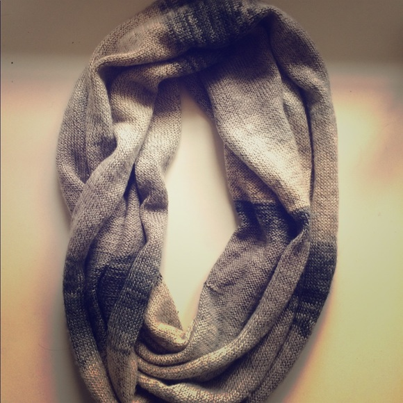 Accessories - Grey & White Striped Infinity Scarf